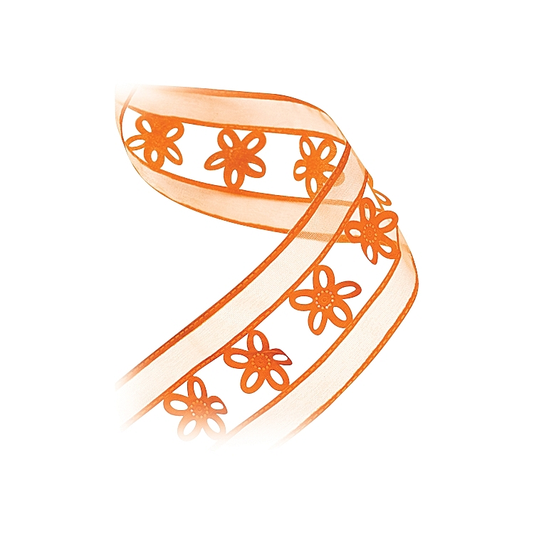 Die Cut Organza Ribbon - Flower Theme - Orange