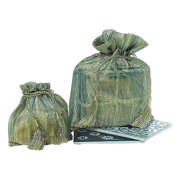 Green / Gold Stripes Small Organza Pouches