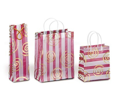 Frosted Bags with Plastic Handles - Swirls and Lines