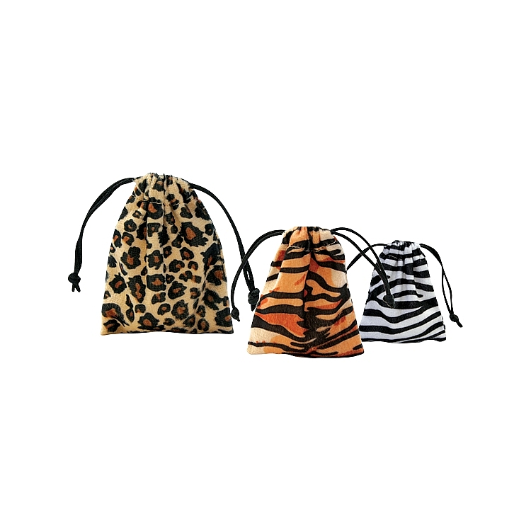 Velour Animal Print Pouches
