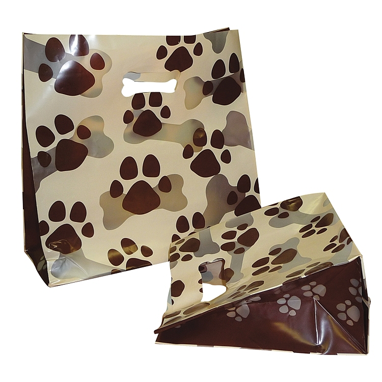 Paw Print Theme Frosted Plastic Bags