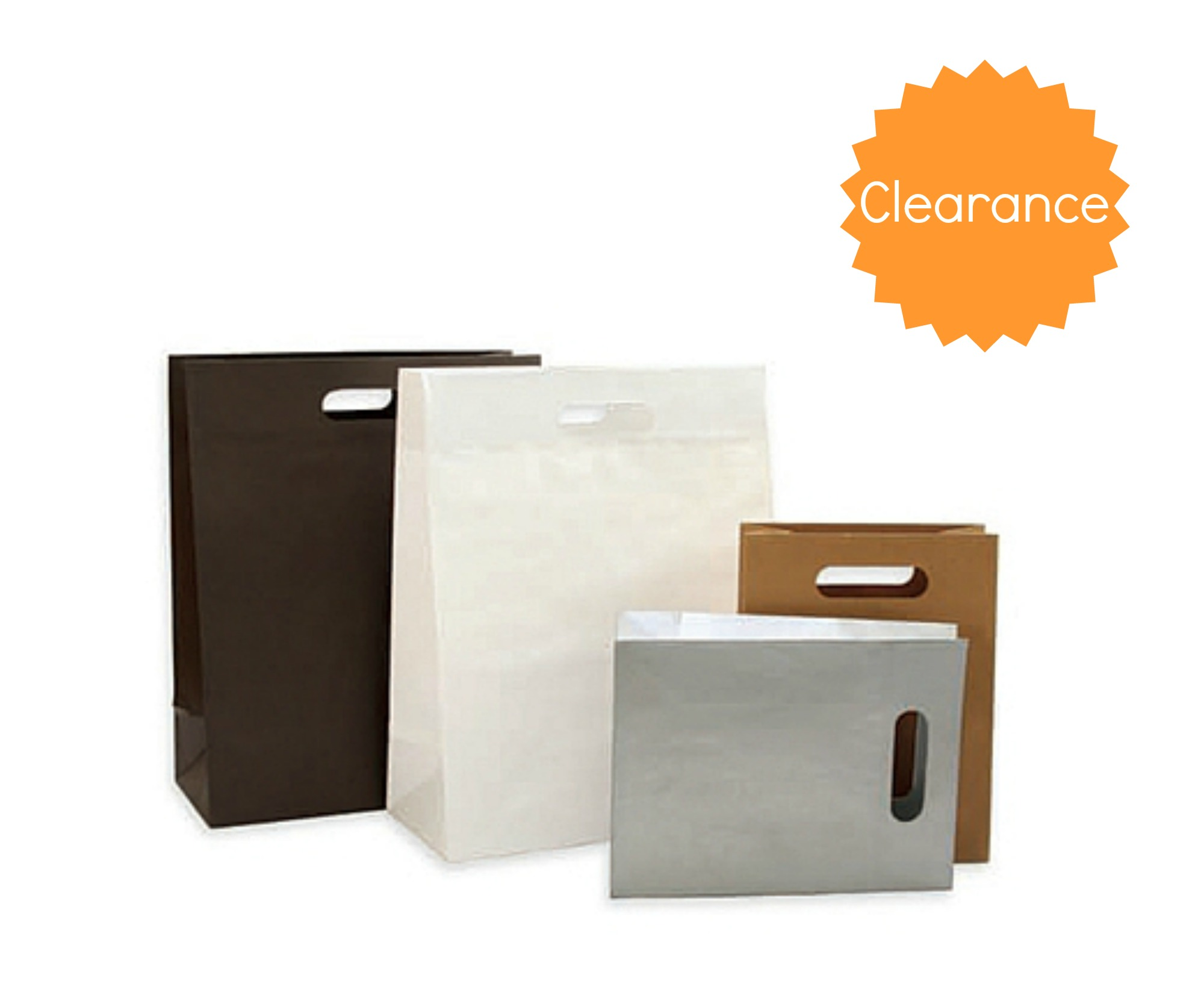 Paper Bags with Die Cut Handles - Brown