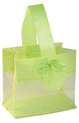 Organza Pouches with Satin Handle - Lime