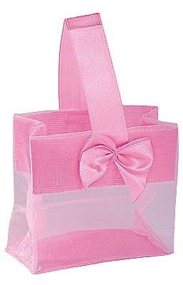 Organza Pouches with Satin Handle - Pink