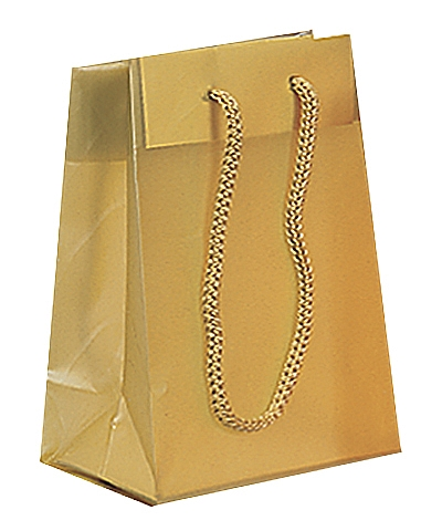 Frosted Plastic Tote Bags - Gold