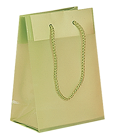 Frosted Plastic Tote Bags - Lime