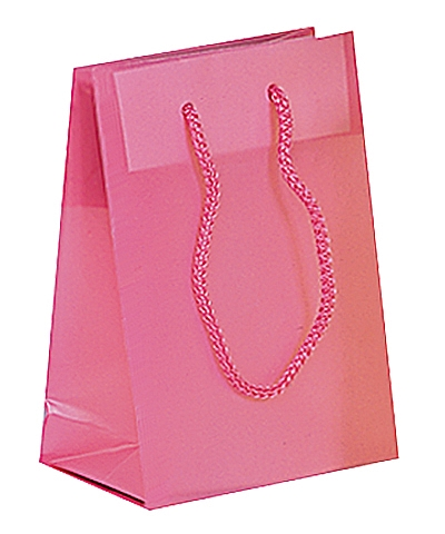 Frosted Plastic Tote Bags - Pink