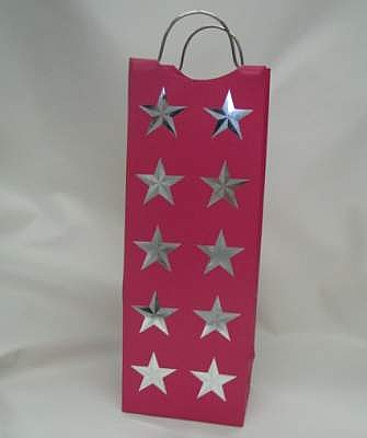 Star Print Paper Bag with Metal Handle