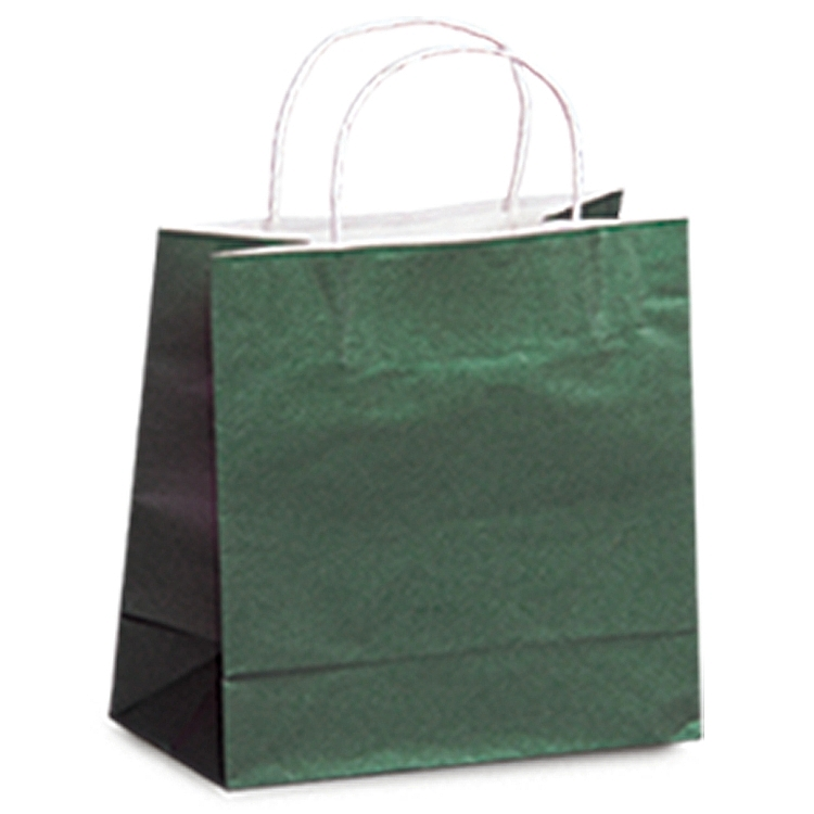 Colour Tone on White Paper Shopping Bags - Hunter Green