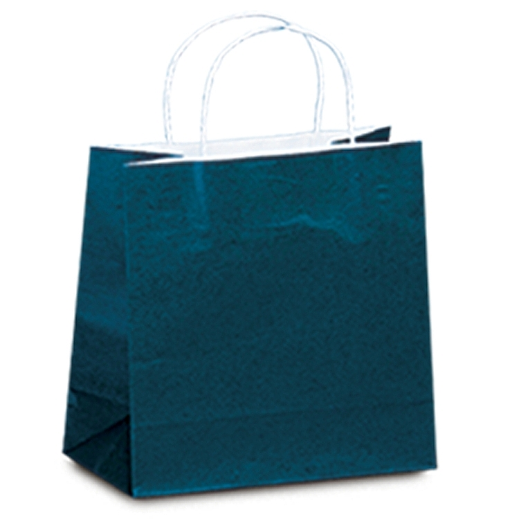 Colour Tone on White Paper Shopping Bags - Navy Blue