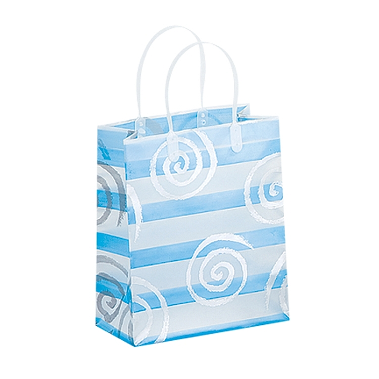 Frosted Bags with Plastic Handles - Swirls and Lines - Light Blue
