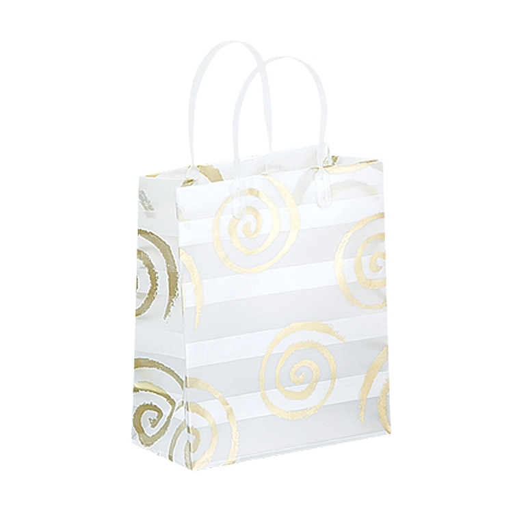 Frosted Bags with Plastic Handles - Swirls and Lines - White