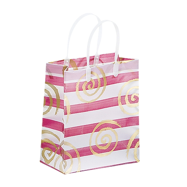 Frosted Bags with Plastic Handles - Swirls and Lines - Wine