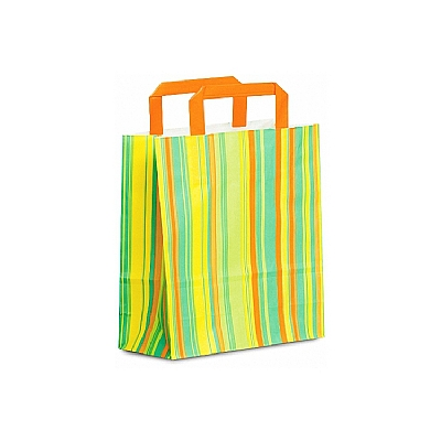 Paper Handle Shopping Bags - Striped - Green