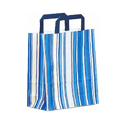Paper Handle Shopping Bags - Striped - Blue
