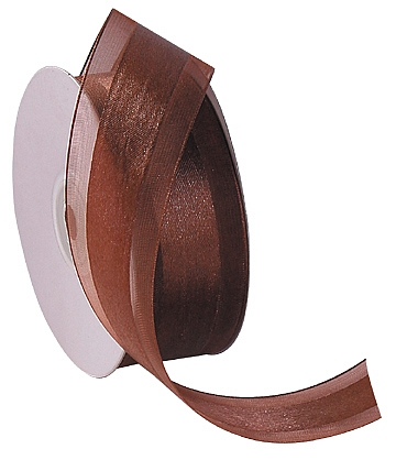 Organza Satin Edge Ribbon - Brown