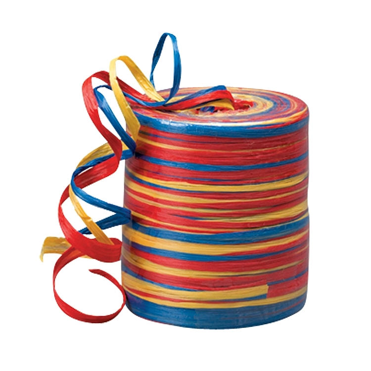 Matt Twisted Raffia Ribbon - Yellow-Royal Blue-Red