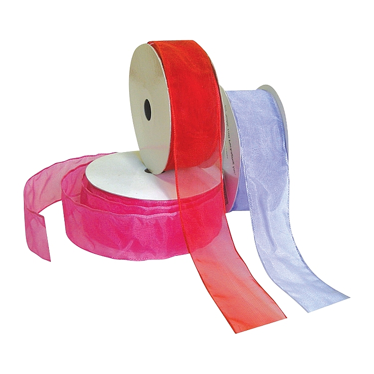 Wired Organza Ribbon - Solid Colour - Red