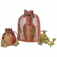 Red/Gold Checked Organza Pouch.