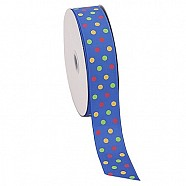 Multi Colour Dotted Grosgrain Ribbon - Blue