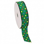 Multi Colour Dotted Grosgrain Ribbon - Green