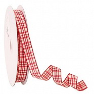 Wired Ribbon - Plaid - Red