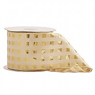 Wired Metallic Box Pattern Ribbon - Gold