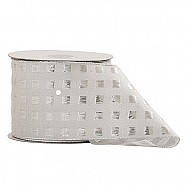 Wired Metallic Box Pattern Ribbon - Silver